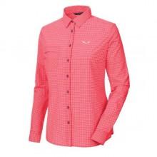 Salewa Puez Mini Check Dry W L/S SRT Camicia donna red onion | Mancini Store
