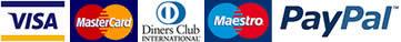 Metodi di pagamento - Visa, Mastercard, Diners Club, Maestro, Paypal, American Express