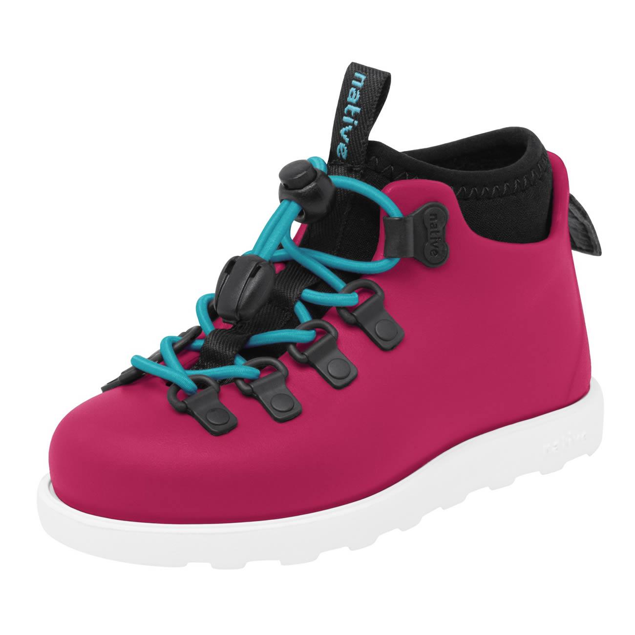 Stivaletto Anti Pioggia Bambina Scarpe Impermeabili Native Shoes Fitzsimmons Pink vista di spigolo