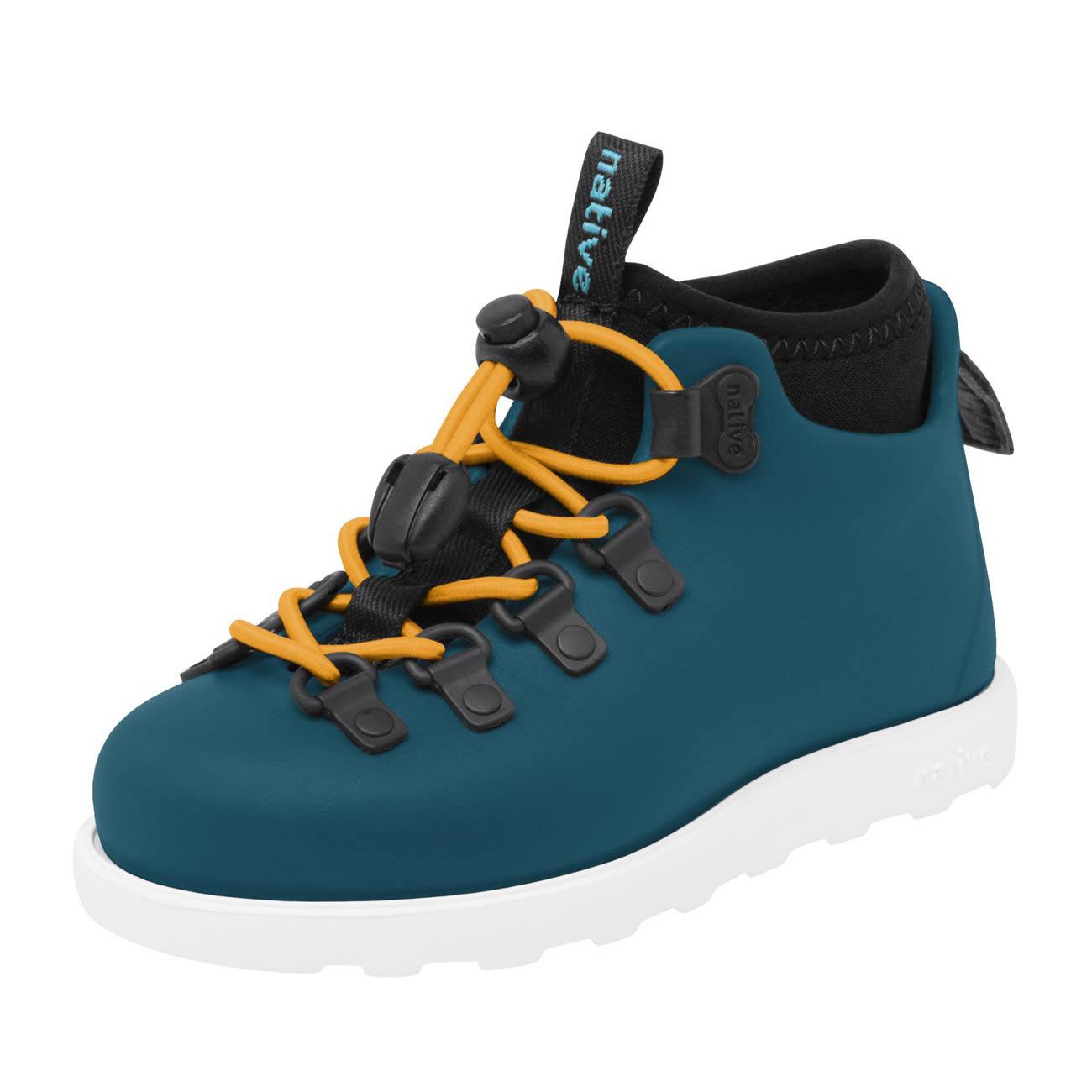 Scarpe Stivaletto Anti Pioggia Bambino Impermeabile Native Shoes Fitzsimmons Blue Bianco Inquadratura di spigolo