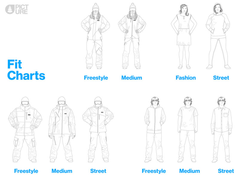 Fit Charts abbigliamento snowboard Picture Organic