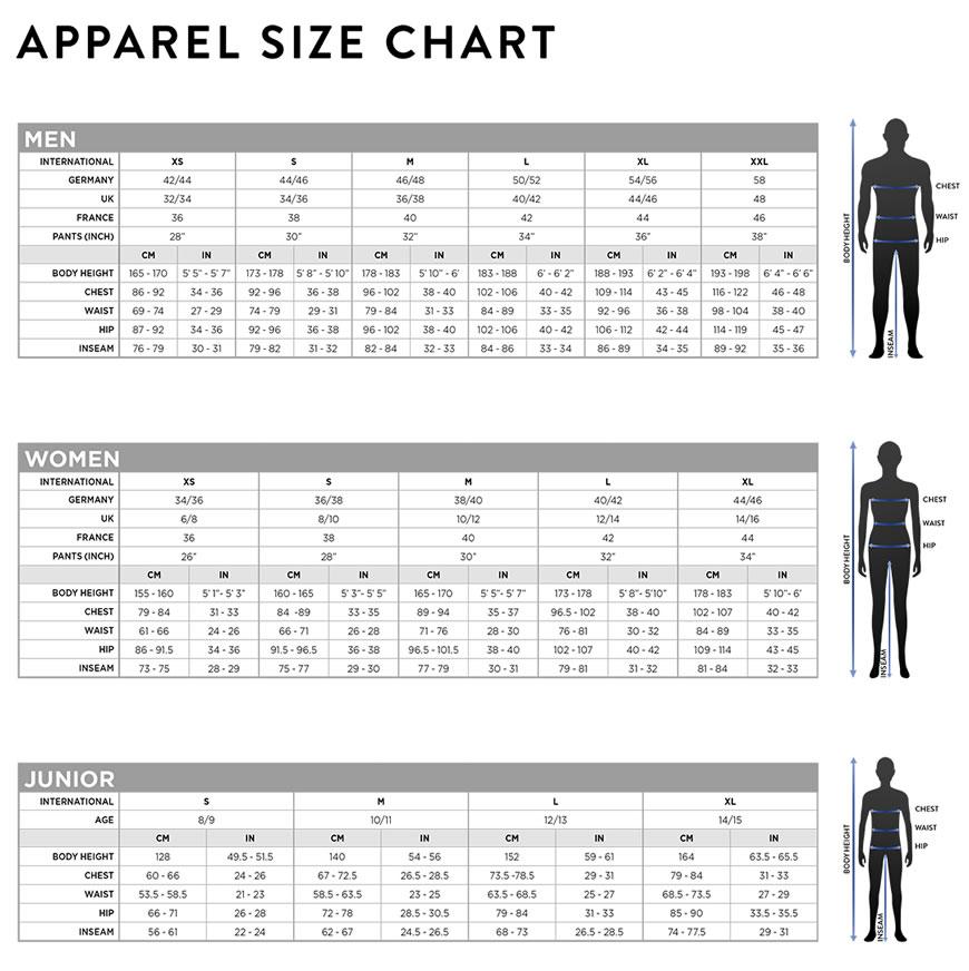 tabella taglie e misure Abbigliamento Scott